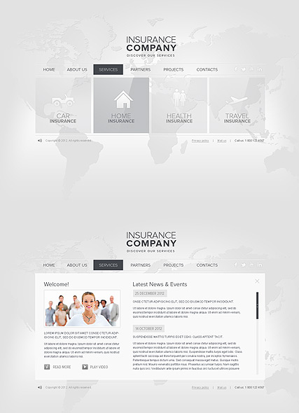 Insurance, HTML5 template