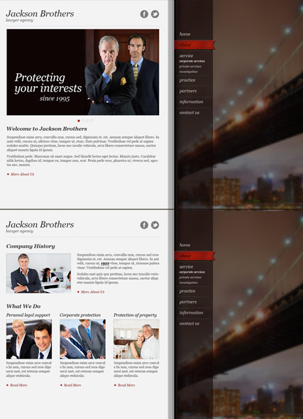 Private Lawyer, HTML5 template