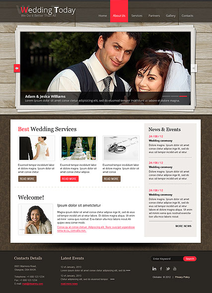 Wedding Planner, HTML template