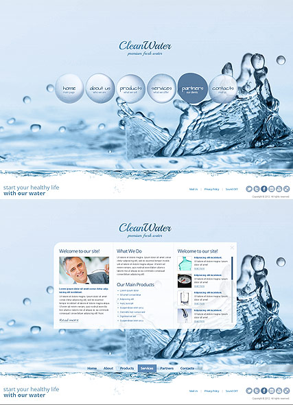 Clean Water, HTML5 template