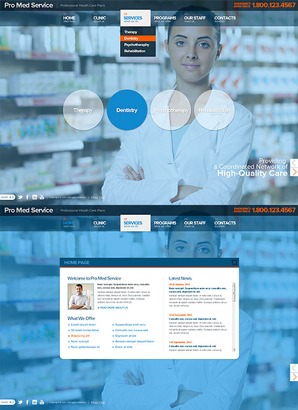 Medical Service, HTML5 template