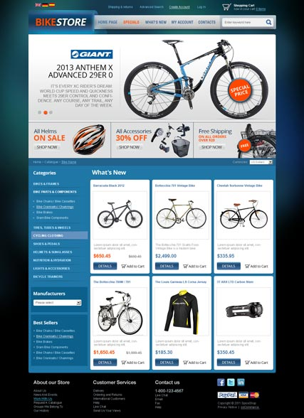 Name: Bike Store v2.3 - Type: osCommerce template - Item number:300111534