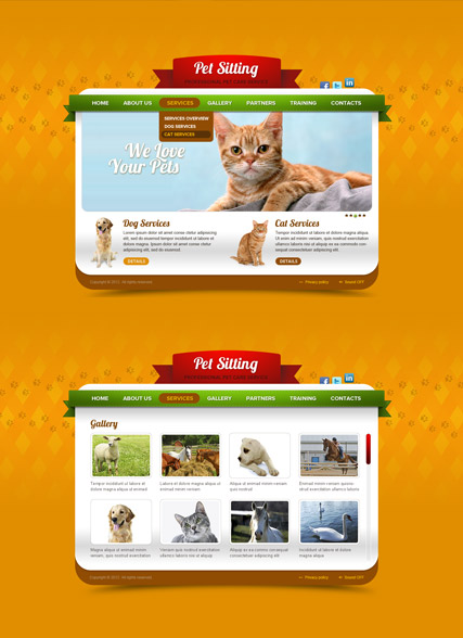 Pet Care, HTML5 template
