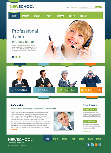 New School, HTML template