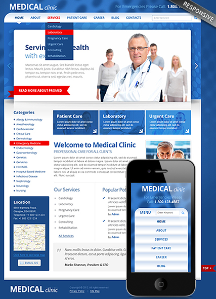 Medical Clinic, Wordpress template
