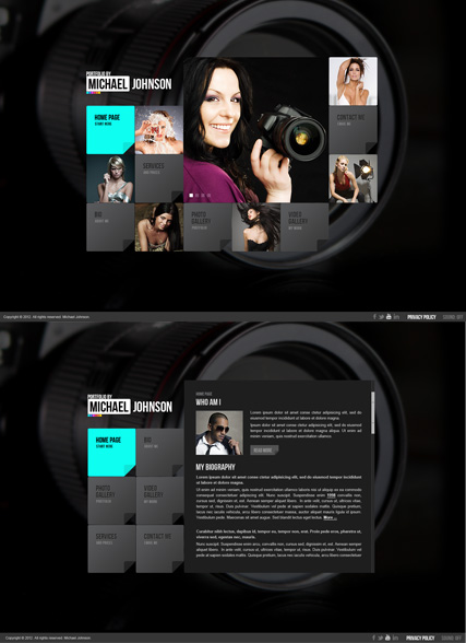 Portfolio by, HTML5 Photo and Video Gallery Admin template