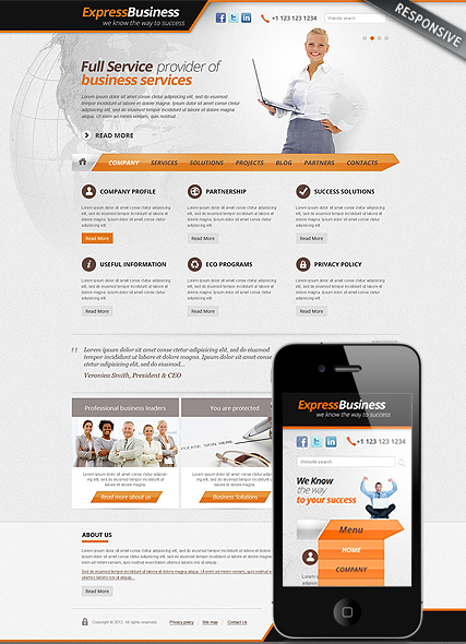 Express Business, Wordpress template