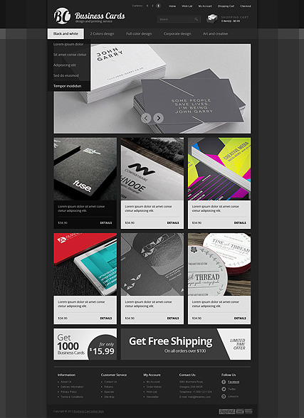 Business cards, OpenCart template