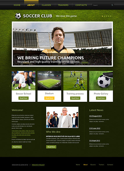 Name: Soccer Club - Type: HTML template - Item number:300111564