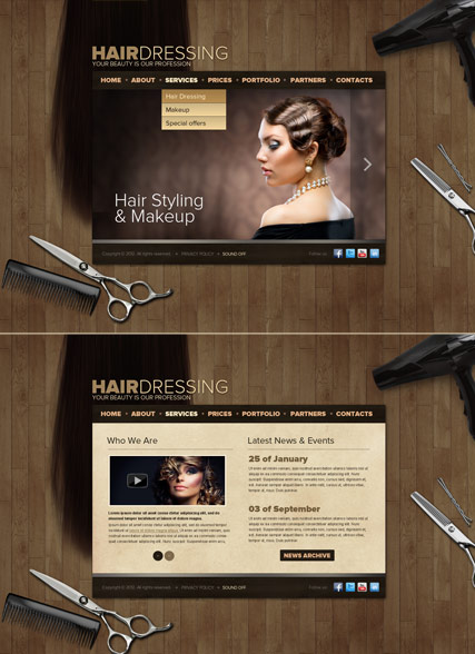 Hair Dressing, HTML5 template