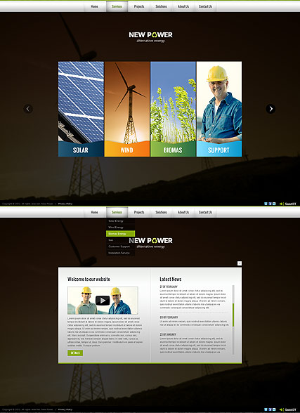 Renewable energy, HTML5 template