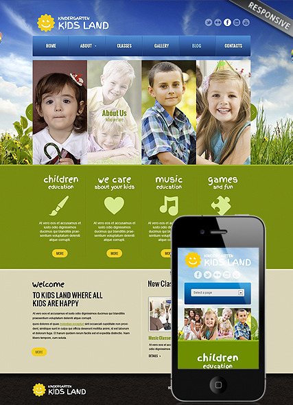 Kindergarten Land, Wordpress template