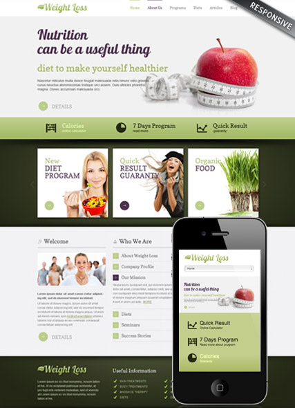 Weight loss v3.0, Joomla template