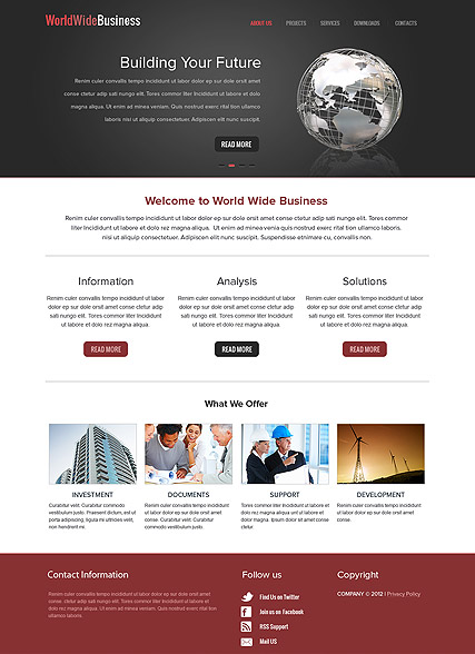 Name: WorldWide Business - Type: HTML template - Item number:300111579