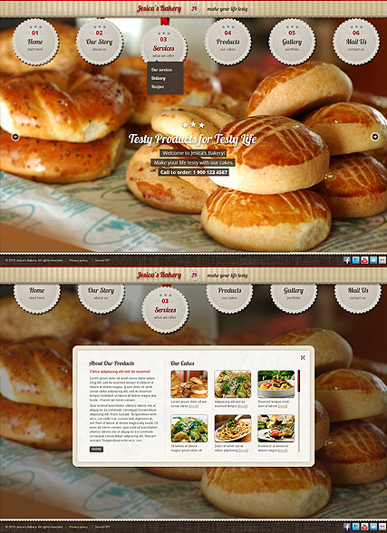 Bakery and Cakes, HTML5 template
