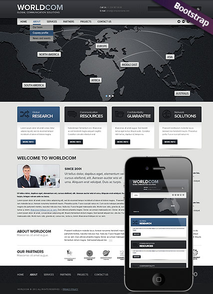World Business, Bootstrap template
