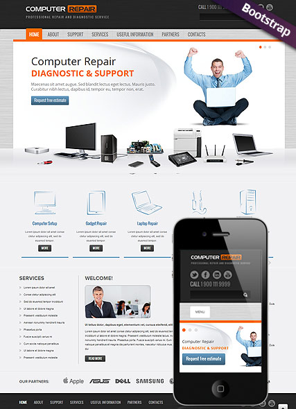 Name: Computer repair - Type: Bootstrap template - Item number:300111587