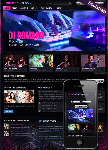 ColoRadio, Bootstrap template