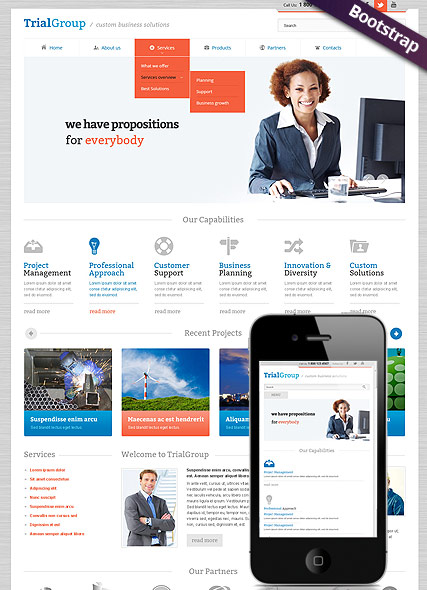Business Company, Bootstrap template