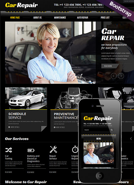 Car Repair, Bootstrap template