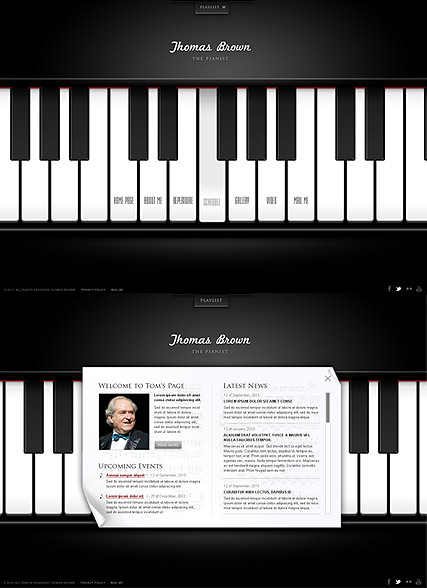 The Pianist, HTML5 template