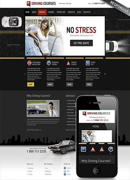 Driving school, Wordpress template