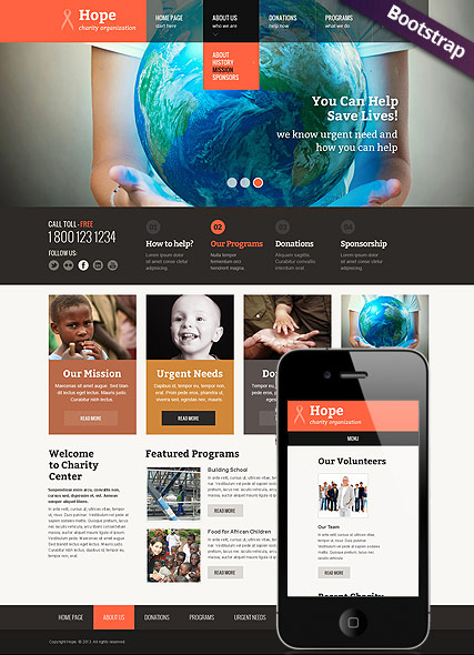 Children Charity, Bootstrap template