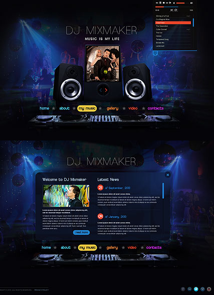 DJ Mix, HTML5 template