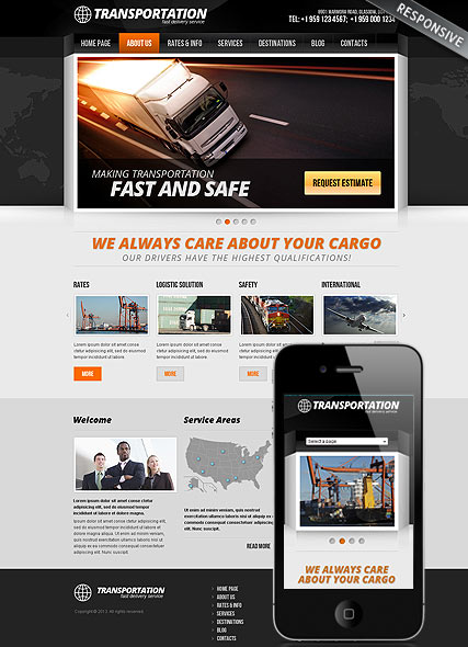 Transportation, Wordpress template