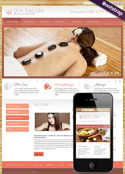 Spa Salon, Bootstrap template