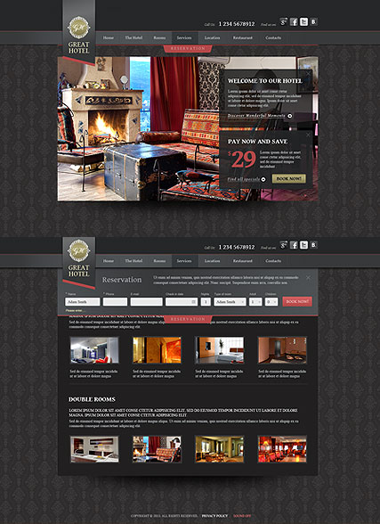 Great Hotel, HTML5 template
