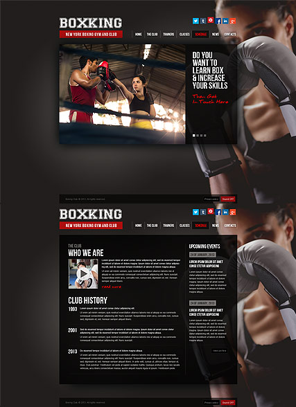 Boxing, HTML5 template