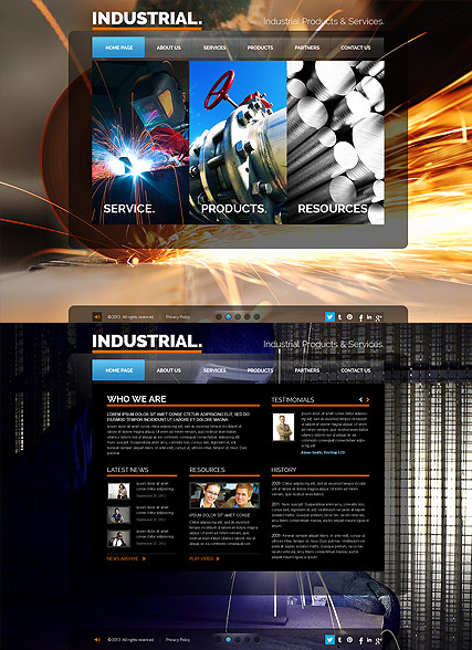Industrial, HTML5 template