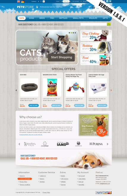 Pets store opencart template id 300111651 for Opencart bookstore template
