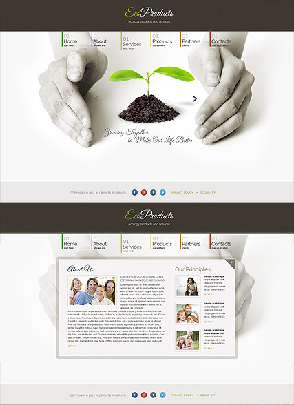 Ecology Products, HTML5 template