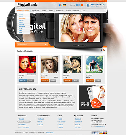 Stock Photos, OpenCart template
