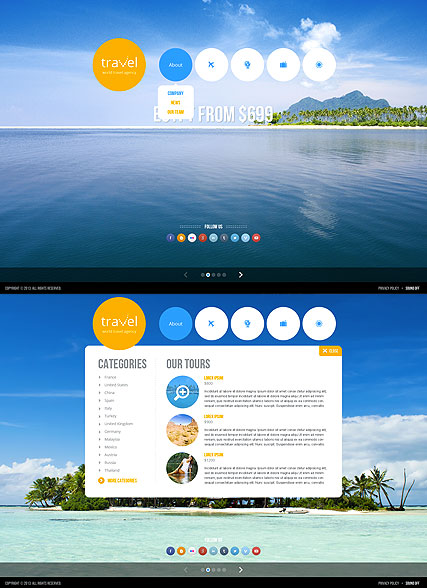 Travel agency, HTML5 template