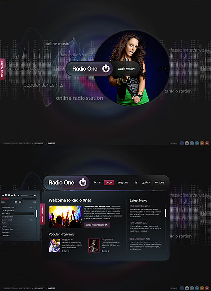 Radio One, HTML5 template