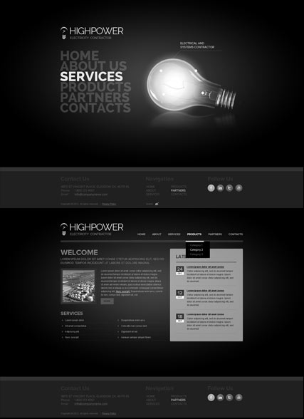 Electricity Contractor, HTML5 template