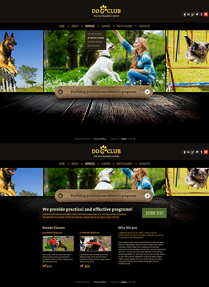 Name: Dog Club - Type: HTML5 template - Item number:300111678
