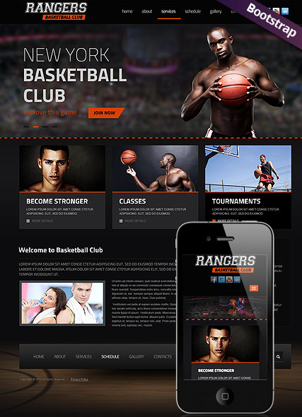 Basketball, Bootstrap template