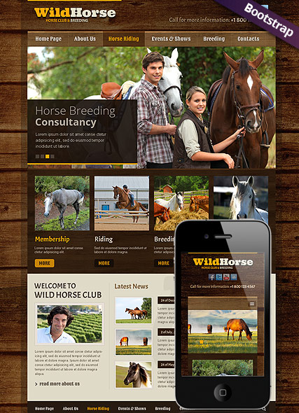 Wild Horse, Bootstrap template