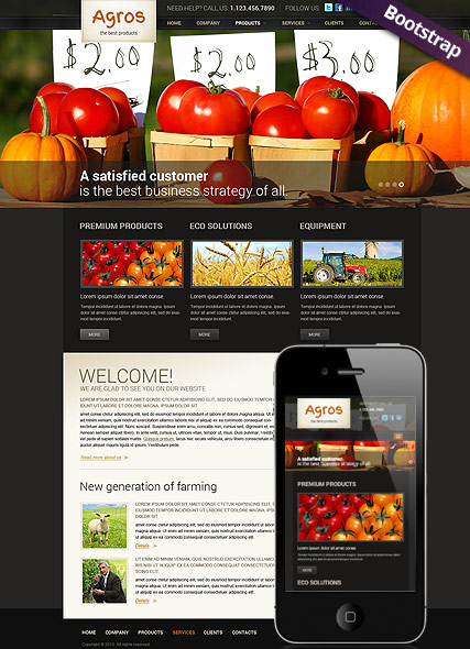 Agriculture, Bootstrap template