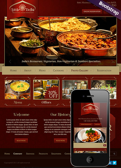 Indian Restaurant, Bootstrap template