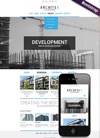 Build and construct, Bootstrap template