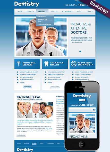 Dentistry, Bootstrap template
