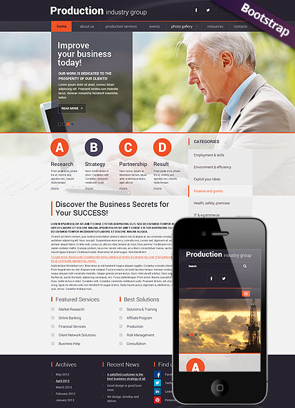 Industry Production, Bootstrap template