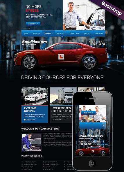 Driving School, Bootstrap template