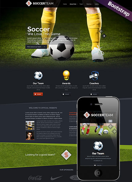 Soccer Club, Bootstrap template