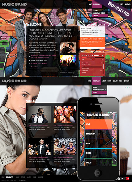Music Band, Bootstrap template